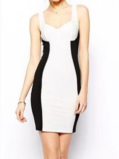 Contrast Color Tank Bodycon Dress - Choies.com
