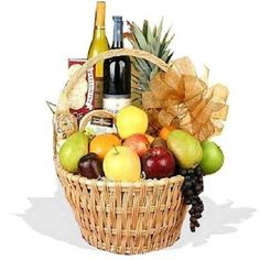 A gift basket, or fruit basket is typically a gift delivered to the recipient at their home or workplace. A variety of gift baskets exist: some contain fruit; while others might contain dry or canned foods such as tea, crackers and jam; or the basket might include a combination of fruit and dried good items. Gourmet gift baskets