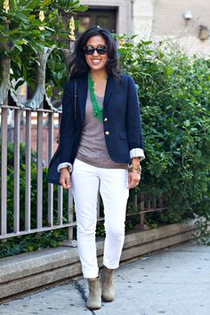 green necklace, grey t, navy blazer, white jeans, suede booties.