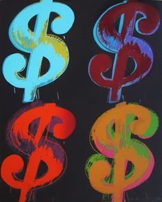 Andy Warhol - Four Dollars Sign - Screen print on lenox Museum Boart - 101 x 81 cm - AP - 1982 Andy Warhol Prints, Andy Warhol Artwork, Warhol Paintings, Illustrations And Posters, American Artists, Love Art, Pet Portraits, Art Lessons, Screen Printing