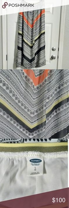 🔥3 for $25🔥 Old Navy Skirt 🔥3 for $25🔥 Old Navy Skirt Size L White sheer fully lined with black, orange & lime/lemon colored designs. Fits larger.  Bundle with other 🔥3 for $25🔥 items & offer $25, I'll accept. Old Navy Skirts