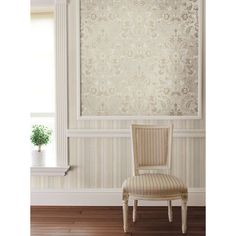 Use wallpaper as artwork for a contrasting pattern with this Salome Taupe Floral Scroll by Brewster. http://lelandswallpaper.com
