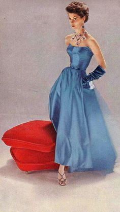 1952 blue silk gown 50s fashion style color photo print ad blue evening gown strapless fit flare long full skirt gloves shoes sandals necklace