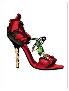 Rose heels, these are totally unique and cute! heels shoes stilettos red rose green gold thorn
