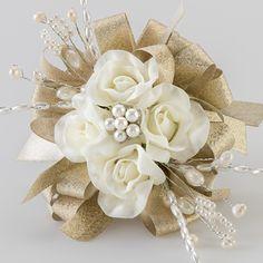 Classic Cream Rose Prom Corsage with Elegant Accents