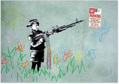 "Banksy , the artist "" without identity "", which combines humor and social commentary"