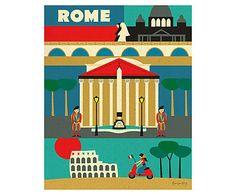 Affiche Rome papier tissé, Multicolore - H26