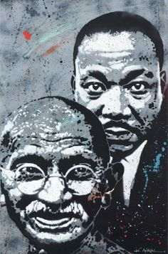 Artist Jef Aérosol 2013, Gandhi & Luther King