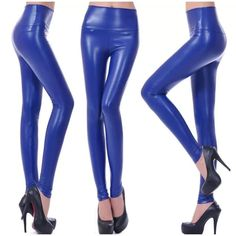 98167bdc3c4fb Blue Leather Leggings Thin Waist, Legging Outfits, Warm Pants, Leather  Leggings Plus Size. Amy GoStar ™