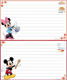 Mickey and friends autumn recipe template free printable: