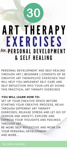 Personal Development and Self Healing through Art ( Beginner ) consists of 30 creative art therapeutic exercises that will help you implement self care and self reflection into your life. Udemy online course / 30 art therapy exercises for self love and self development #art #selfexpression Health Anxiety, Mental Health, Self Development, Personal Development, Online Art Courses, Art Therapy Activities, Self Healing, Best Self, Mental Illness