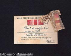 GEORGE PRATT WWII SOLDIERS ATLANTIC WAR ZONE BAR & CARD IN ORIGINAL WRAPPER