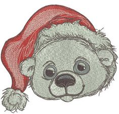 Polar bear in Santa hat machine embroidery design. Machine embroidery design. www.embroideres.com #Christmas  #winter #cute #holiday #Santahat  #cold #polarbear #embroidery #embroideres