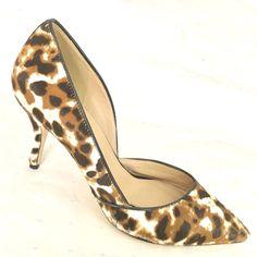 J.CREW Collection Colette D'Orsay Pump Calf Hair High Heel Leopard Print Cat 7.5 #JCrew #PumpsClassics #WeartoWork