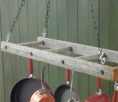 Vintage tobacco ladder turned pot and pan hanger.