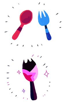 I feel like Ruby would be the fork instead because when she gets angry or someone talks to her saffy shed stab them. And sapphire is more well rounded so she'd be the spoon.