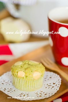 dailydelicious: Green tea White chocolate muffins