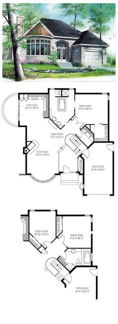 Hillside House Plan 65084   Total living area: 1208 sq ft,1 bedroom & 1 bathroom. A modified formal entry greets a welcoming layout with dining room, family room with fireplace and kitchen-breakfast area. #hillsidehouse #houseplan
