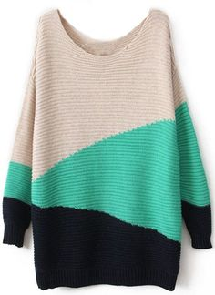 Green Black Beige Long Sleeve Geometric Asymmetrical Sweater - Sheinside.com