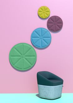 WAFFLE DISCS; Waffle Discs are a logical way to put sound on the agenda in any open space. Available In various sizes, over 50 colours and two playful designs, the hard-working acoustic panels can create a unique shape and colour blend to suit any environment. Mix and match all of these options with the LED back-lighting on some or all the panels for a visual punch • TPL LIGHTING • MERGING LIGHTING WITH DESIGN • TPLLIGHTING.COM • TORONTO, CANADA •