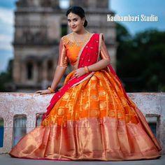 Half Saree Lehenga, Lehenga Gown, Lehnga Dress, Saree Look, Sari, Lehenga Blouse, Half Saree Designs, Blouse Designs, Dress Designs