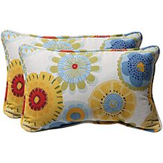 Pillow Perfect Decorative Multicolored Floral Rectangle Toss Pillows, - These two by rectangle corded outdoor pillows are sure to be the perfect accent to your outdoor patio furniture with their designer colors and superior quality.
