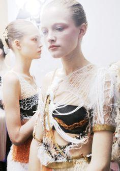 Vlada Roslyakova backstage at Rodarte <3 The Darker Horse: Hanging By A Thread