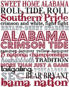 University of Alabama Subway Art via Etsy @Heather Creswell Creswell Strickland