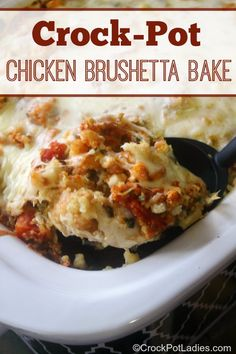Crock-Pot Chicken Brushetta Bake - The entire family will love this quick and easy recipe for Crock-Pot Chicken Brushetta Bake. Tender pieces of chicken breasts are combined with stuffing mix, tomatoes, fresh basil and some mozzarella cheese for a slow cooker casserole recipe that is simply delicious! | via CrockPotLadies.com