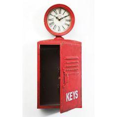 Ρολόι τοίχου Air Pressure Το ρολόι αυτό, μεταλλικό σε κόκκινο χρώμα με τεχνητή παλαίωση, αποτελεί μια έξυπνη λύση για όσους θέλουν να διακοσμήσουν έναν τοίχο του σπιτιού τους αλλά και να τον αξιοποιήσουν ως αποθηκευτικό χώρο, μιας και λειτουργεί και ως ντουλαπάκι – κλειδοθήκη. Λειτουργεί με μια απλή μπαταρία 1xAA Key Box, Union Jack, Bottle Opener, Locker Storage, Shabby Chic, New Homes, Inspiration, Design, Home Decor