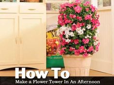 "Make a ""Flower Tower."" Use galvanized wire; roll it up to form a vertical tower. Insert it upright into a large pot. Use landscaping fabric as a liner inside the wire to hold in the potting soil vertically. Tower Garden, Garden Pots, Garden Ideas, Herbs Garden, Container Gardening, Gardening Tips, Urban Gardening, Hydroponic Gardening, Urban Farming"