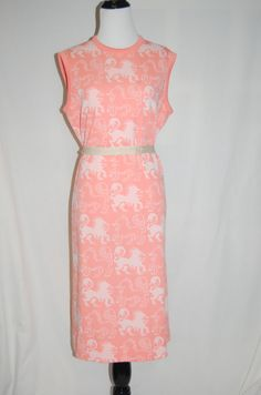 1960s Peachy LION Printed Shift Dress  by LittleGhostVintage, $40.00