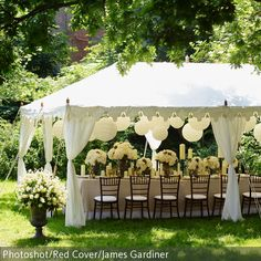 "Brides who dream about an outdoor wedding will often reserve a big white wedding tent ""just in case it rains.Decor Ideas · Rustic night wedding tent reception under the stars. Wedding Tent Decorations, Deco Champetre, Wedding Venues, Wedding Ideas, Marquee Wedding, Small Wedding Receptions, Small Intimate Wedding, Wedding Simple, Small Outdoor Weddings"