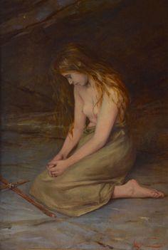 Adolfo Tommasi (Livorno 1851 -  Firenze 1933) La Maddalena, 1893 Olio su tela, cm. 85x58 Mary Magdalen - Private collection Oil on canvas - Macchiaioli