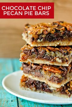 Chocolate Chip Pecan Pie Bars.  The great flavor of pecan pie, with chocolate…