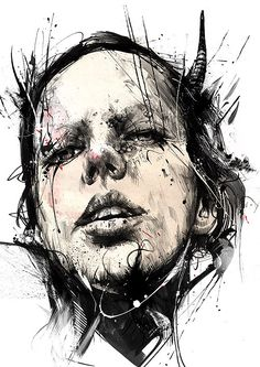 Illustrations by UK based artist RUSS MILLS. Russ' work is an clash of styles from classical to pop surrealism, focusing predominantly on the human form, Colossal Art, Arte Horror, Renoir, Portrait Art, Painting Portraits, Contemporary Paintings, Oeuvre D'art, Love Art, Painting & Drawing