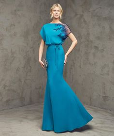 Fashion O Neck Floor Length Blue Chiffon Trumpet Mermaid Evening Dress Cpr0061
