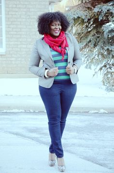 style inspir, color combos, plus size fashions, blazers, jean outfits, business casual plus size, casual fridays, curv, stripe