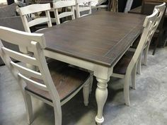 This solid dining set is brand new in the box and amazing quality! The table and chairs are heavy and beefy!! This is the perfect farmhouse style set in a lightly distressed cream color and dark brown/grey wood! This has a 24 leaf and it includes 6 chairs, but more chairs can be ordered for $110 each. This set would be HUNDREDS more in stores so this is an amazing price!! Table: 84 by 42 with a 24 leaf I order wholesale from the manufacturer and have a small showroom in my warehouse i...