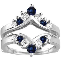 Genuine Sapphire Ring Guard Enhancer with Diamonds and Sapphire in 14k White Gold (1.02 ct. twt.) TwoBirch http://www.amazon.com/dp/B00U1KUSYW/ref=cm_sw_r_pi_dp_1Y1Vwb0QXK9B0