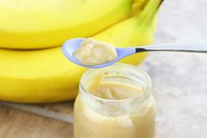 Bananas-Stage 1.  1: Peel a ripe banana – do not cook.  2: Place banana in a food processor or blender and puree or mash with fork – heat in microwave for 25 seconds prior to mashing for extra softness.  3: Add formula/breast milk or water to thin or add cereal (if desired) to thicken up.