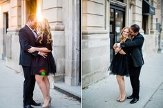 Classy Downtown Engagement with Handmade Black Tulle Skirt Couple Hugging, City Engagement Photos, Vancouver Wedding Photographer, Old Building, Midi Skirt, Tulle, Classy, Skirts, Black