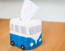 VW Camper Micro Bus Hand Knitted Gift Tissue Box Cover - Blue