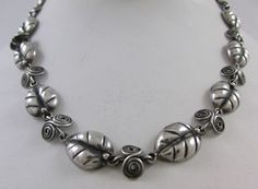 VINTAGE TAXCO MEXICAN STERLING SILVER HANDMADE LEAF NECKLACE SIGNED V.A. #Taxco