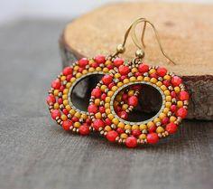 Red Orange Yellow Gold Beaded Hoop Dangle Earrings Brick Stitch by lamaisondefloria