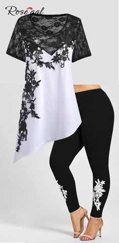 Free shipment worldwide, up to 70% off | Rosegal plus size spring summer outfits for women lace floral tshirt tops and legging bottoms, buy the latest plus size and vintage fashion style in rosegal.com | #rosegal #tops #leggings #plussize #tshirts