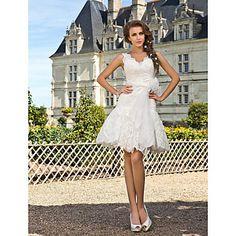 a-line V-Ausschnitt knielangen Spitze Brautkleid – USD $ 197.99