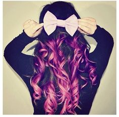 Purple dip dye hair with a cute bow