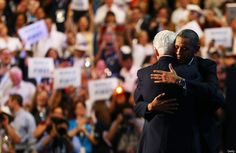 CHARLOTTE, NC - SEPTEMBER 05: U.S.--  President Bill Clinton hugs Democratic presidential candidate, U.S. President Barack Obama (R) on stage during day two of the Democratic National Convention at Time Warner Cable Arena on September 5, 2012 in Charlotte, North Carolina. The DNC that will run through September 7, will nominate U.S. President Barack Obama as the Democratic presidential candidate.