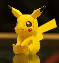 Pikachu Papercraft Model....more fine motor skills work (with help)
